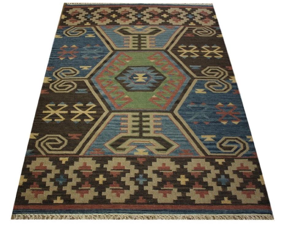 kilm gobelin Turkmen ręcznie tkany wełna vintage