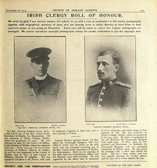 Photo: Revd Percival Doherty Irwin & Capt. Herbert Quintus Irwin, 26 November 1915