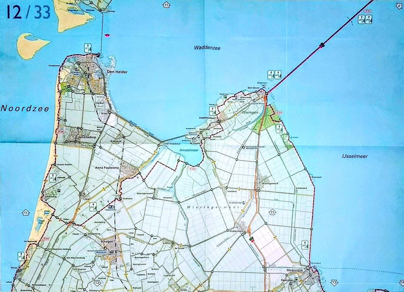 Exemple de carte 1:100 000 de l'atlas des véloroutes néerlandaises Basiskaart