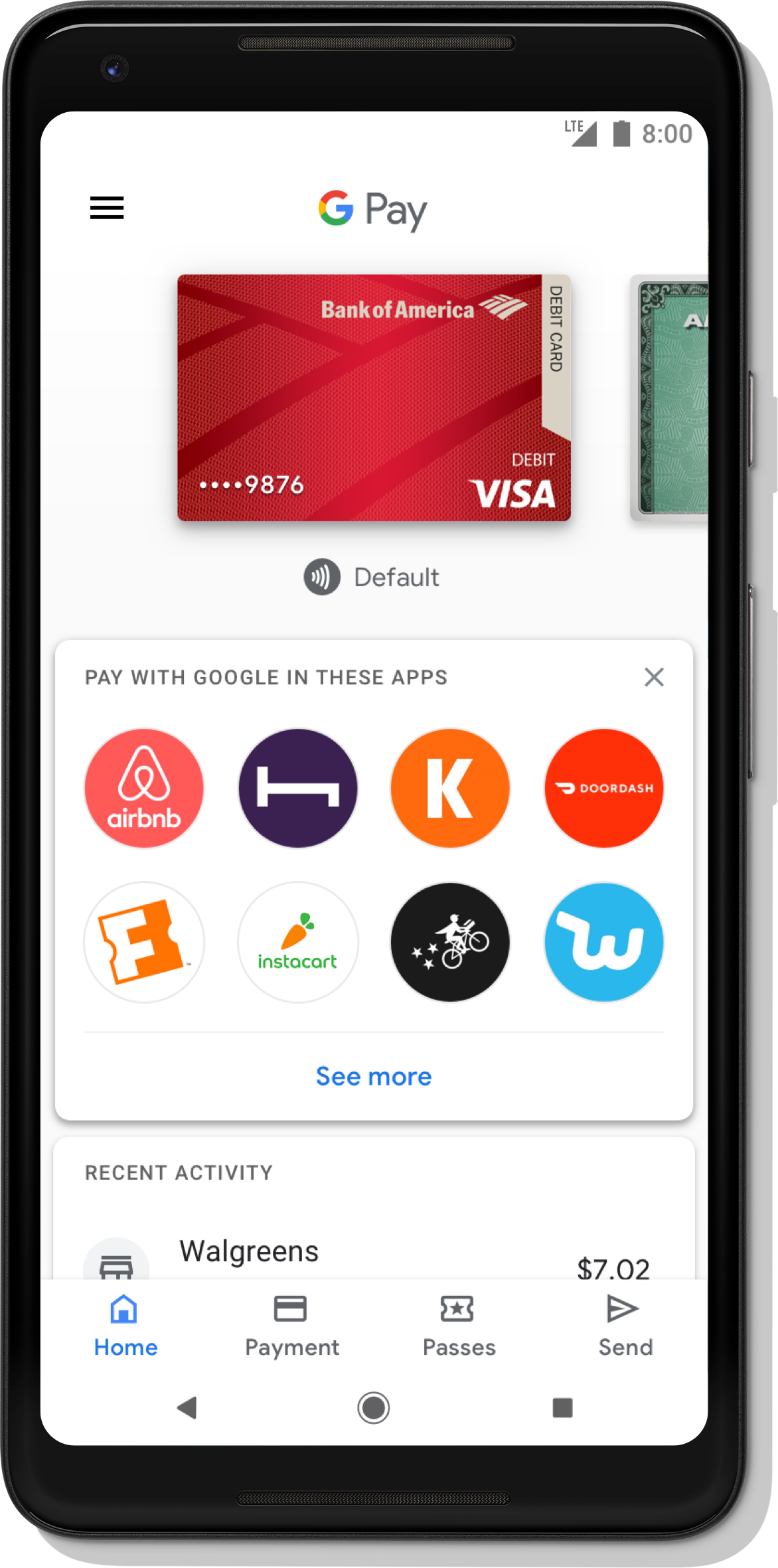 Google Pay app home screen