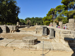 Photo: Here is where the Olympic torch is still lit - in front of the Temple of Hera.