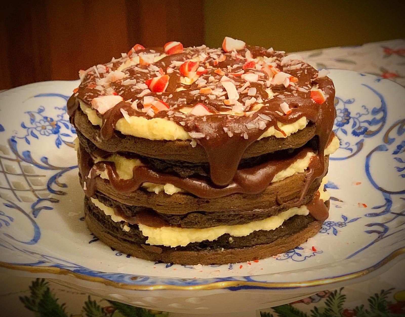 Chocolate Peppermint Bark Chaffle Cake