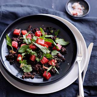 Sticky Pork, Watermelon Pickle And Herb Salad