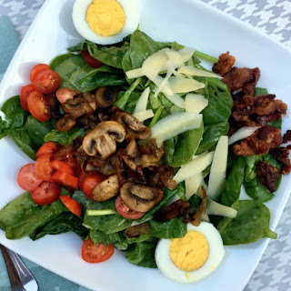 "Spinach Salad with Hot Bacon Dressing and ""All the Good Stuff"" Recipe"