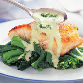 Salmon with Chinese Broccoli and Wasabi Mayonnaise Sauce.