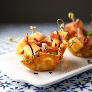 Prosciutto and Melon Mini Skewers in a Parmesan Basket Recipe