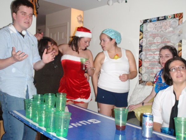 Me playing beer pong wishing I had freelance writing jobs to pay for better beer.