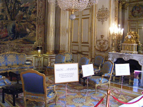 Photo: The Salon Pompadour (named from its use as the state bedroom of the Marquise de Pompadour; it also was the bedchamber of Napoleon I) is used by the president for audiences and dinners. The room is furnished with 17th century tapestries and Louis XV and Louis XVI pieces.