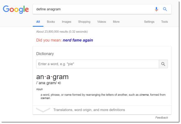 Google Easter egg: define anagram