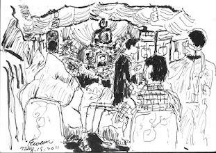 Photo: 再見!四姨!2011.05.15鋼筆 今天參加四姨的告別式,送她老人家最後一程,腦海裡一直浮現兒時母親住院時和哥哥寄宿在她家的情景,於是我一面抖著手一面畫著…