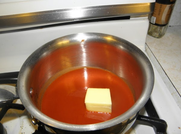 in a med sauce pan place hot sauce and butter. On very low heat...