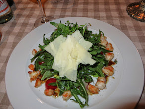 """Photo: Arugula with shrimp.  They did not translate arugula as """"rocket"""" as we see so many places"""