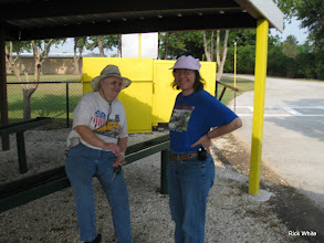 Photo: Mary Lou Pasley and Gail Campopiano talking in the shade.  HALS RPW  2009-0905