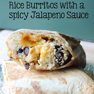 Chicken, Black Bean, & Rice Burritos with a Spicy Jalapeno Sauce