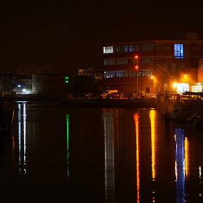 Gosport Harbour by night by Marc Lawrence - City,  Street & Park  Night ( water, lights, harbour, reflections, night, colours )