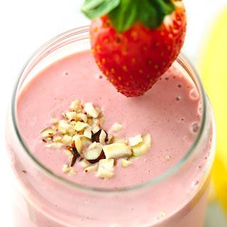 Strawberry Banana Smoothie with Almond Milk.