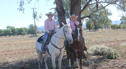 Hope Starkey on Harry and Dusty Starkey on Hank. The Maules Creek sisters will travel to Texas in June to compete for Australia at the Youth Rodeo Finals.