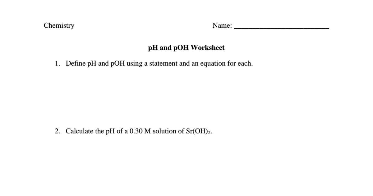 Ph And Poh Worksheet Blankpdf Google Drive