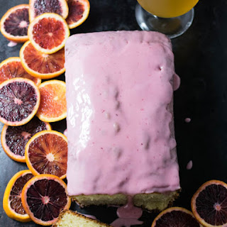 Blood Orange Wheat Ale Pound Cake with Blood Orange Glaze.