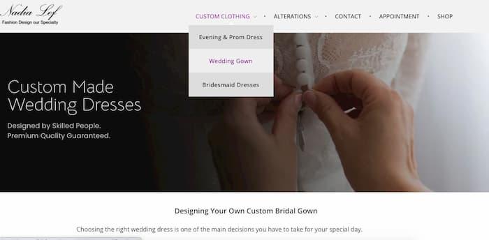 Trang đích cho một quảng cáo váy cưới là một trong những trang serice váy cưới