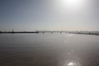 Photo: Day 161 - Railway Bridge Over River Oxus Viewed from Floating Bridge