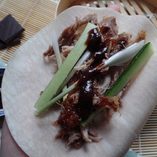 Crispy Duck Wraps With Chocolate Hoisin Sauce.