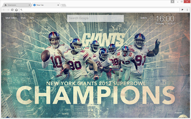 Get This NFL NewTab Themes To Enjoy HD Wallpapers Of The New York Giants In Every Tab