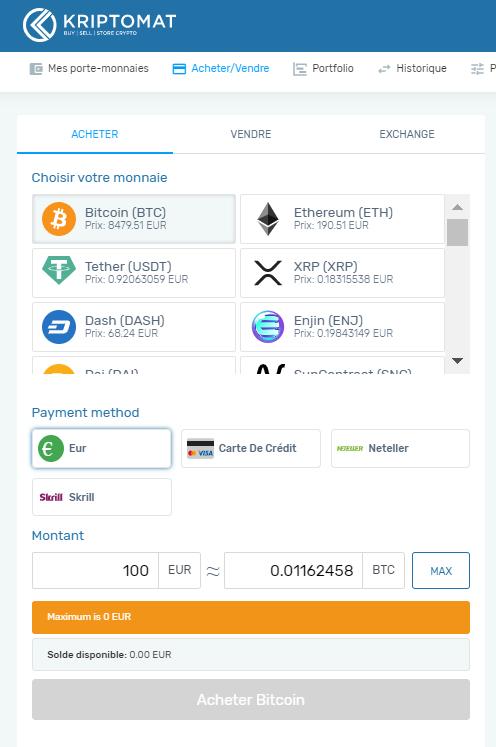 Process d'achat de Bitcoin et de cryptomonnaies sur Kriptomat