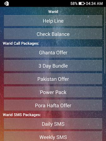Warid Packages 1.8 screenshot 1095655