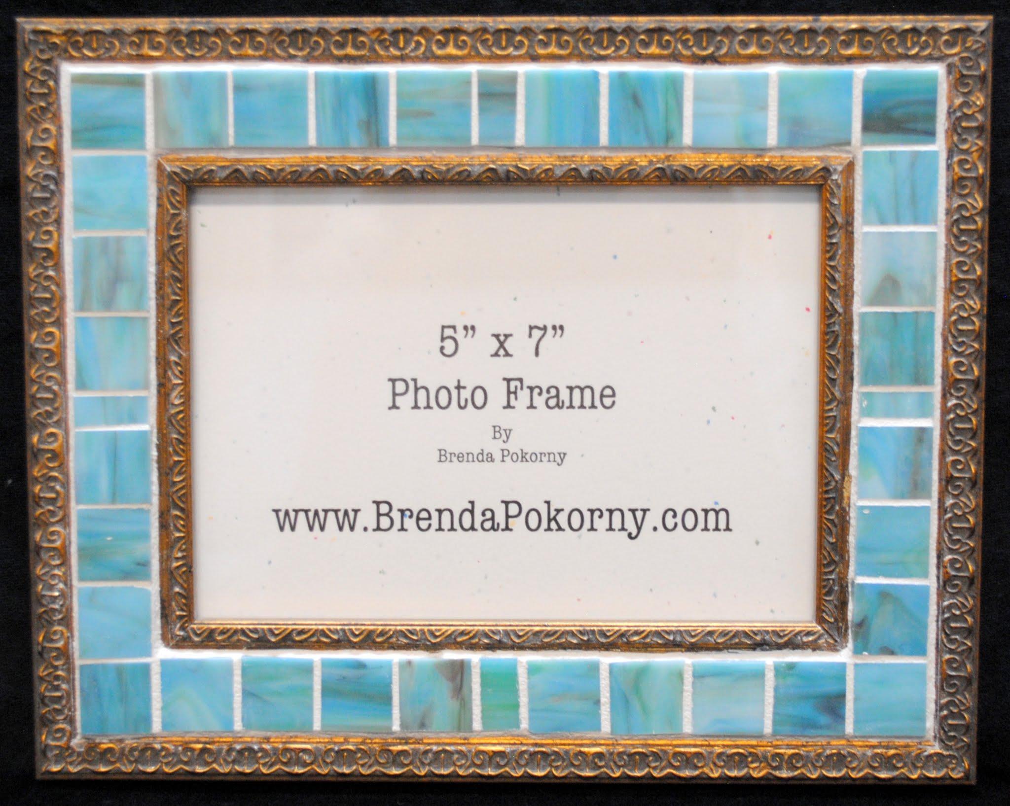 "Soft Aqua & Antique Gold 5"" x 7"" Mosaic Photo Frame MOF1451"