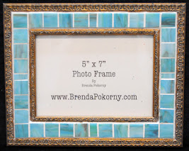 "Soft Aqua & Antique Gold 5"" x 7"" Mosaic Photo Frame MOF1451"