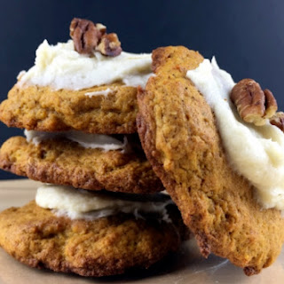 Low Carb Pumpkin Cookies with Vanilla Cream Cheese Frosting.