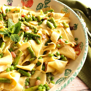 Pappardelle with Peas, Asparagus, and Mint.