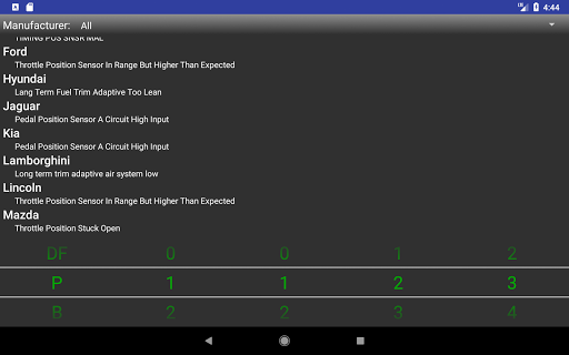 OBDII Trouble Codes app for Android screenshot