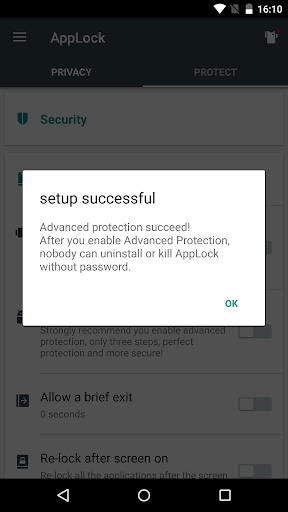 Advanced Protection u261e AppLock 1.7 screenshots 2