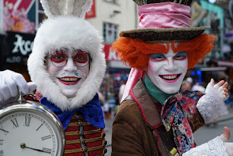 Photo: The White Rabbit and the Mad Hatter having a tea party in Camden, London.