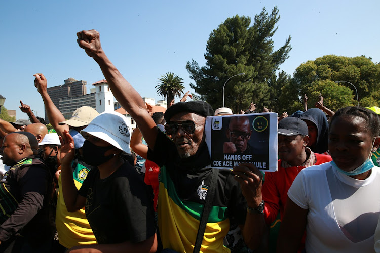 ANC secretary-general Ace Magashule appeared in court in Mangaung on Friday with a large crowd of supporters outside.