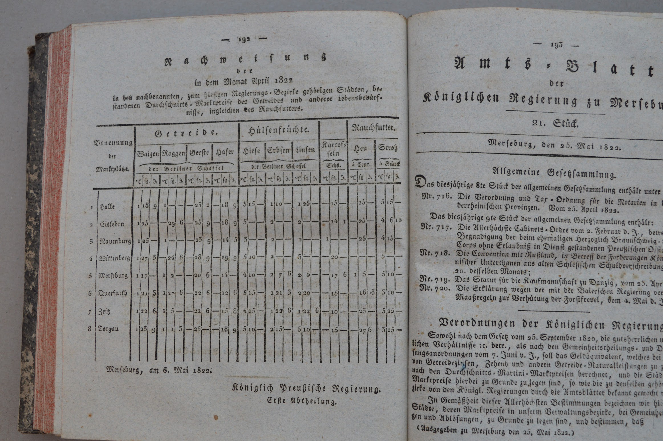 Amts-Blatt der Königlich Preußischen Regierung in Merseburg von 1822, 1823, 1824