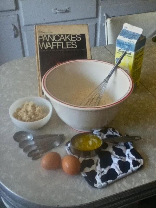 In large bowl, combine first five ingredients:  flour, sugar, baking powder, baking soda...