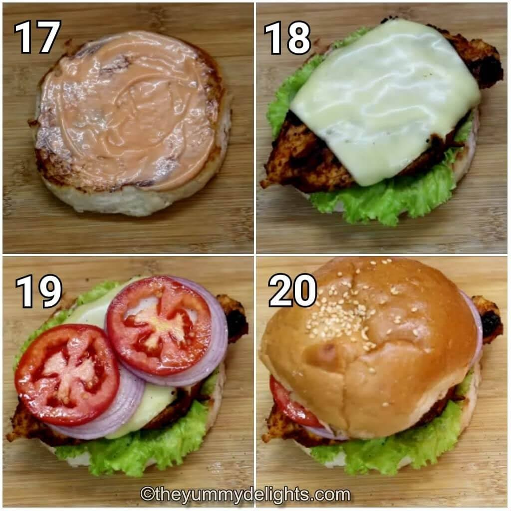 step by step image collage of making the grilled cajun chicken sandwich