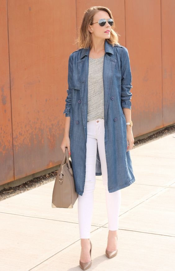 Casual look with long denim coat, white jeans and neutral pumps for Cool Summer women