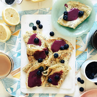 Lemon Poppy Seed Crepes with Blueberry Curd.