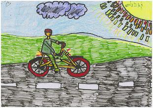 """Photo: praca Wiktora""""Jeżdżę rowerem, bo jazda rowerem to przebywanie na świeżym powietrzu i frajda"""""""
