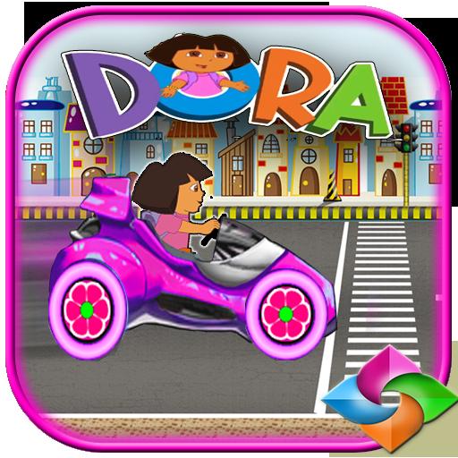 dora girle the explorer hill car racing