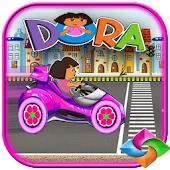dora girle the explorer hill car racing