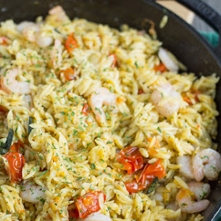Shrimp Orzo with Tomato and Basil.