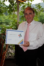Photo: Dr. Klaus Diegritz, 2009-2010 President of the Rotary Club of Eberbach, Germany, holding the Presidents Award signed by John Kenny from Rotary International. This is the first time Klaus' club received this award. This is due to the efforts of Klaus and his members. - Congratulations Klaus!