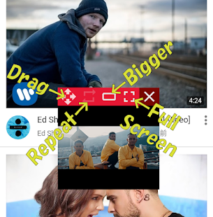 PopTube Video floating App - náhled