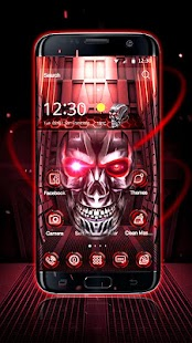 Neon Tech Skull 3D Theme - náhled