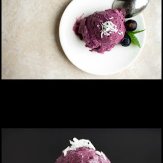 Simple No Churn Coconut Blueberry Ice Cream